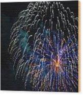 Blue Orange White Fireworks Galveston Wood Print
