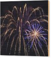 Blue Orange Yellow Fireworks Galveston Wood Print