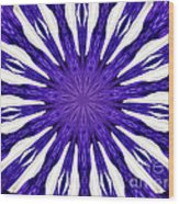 Blue Orchid Sunburst Kaleidoscope Wood Print