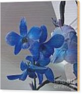Blue Orchids At All Wood Print