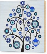 Blue Ornaments Wood Print