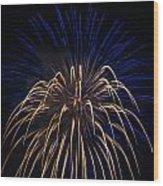Blue Over Orange Fireworks Galveston Wood Print by Jason Brow
