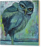Blue Owl Wood Print