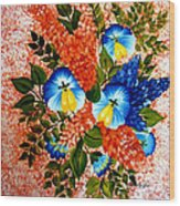 Blue Pansies Bouquet Wood Print