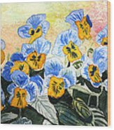 Blue Pansy Wood Print