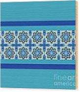 Blue Patchwork 2 Wood Print