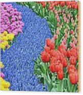 Blue Path Of Flowers Wood Print