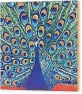 Blue Peacock Wood Print