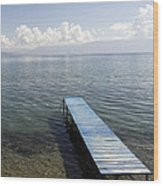 Blue Pier At Lake Ohrid Wood Print