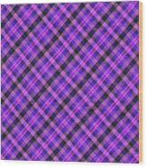 Blue Pink And Black Diagnal Plaid Cloth Background Wood Print