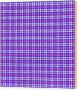 Blue Pink And White Plaid Cloth Background Wood Print