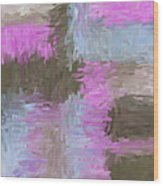 Blue Pink Brown Abstract Wood Print