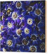 Blue Poem Wood Print