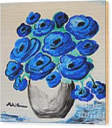 Blue Poppies Wood Print by Ramona Matei