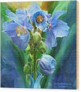 Blue Poppy Bouquet - Square Wood Print
