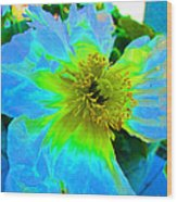 Blue Poppy Neon Wood Print