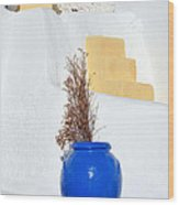 Blue Pot In Oia Town Wood Print