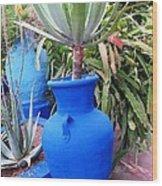 Blue Pot Wood Print