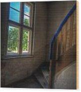 Blue Rail Wood Print