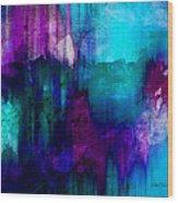 Blue Rain  Abstract Art   Wood Print