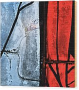 Blue Red And Blue Wood Print