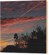 Blue Red And Gold Sunset With Streak Wood Print