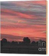 Blue Red Sky  Wood Print