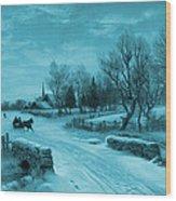 Blue Retro Vintage Rural Winter Scene Wood Print