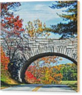 Blue Ridge Autumn Bridge Wood Print