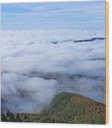 Blue Ridge Fog Wood Print