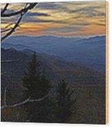 Blue Ridge Last Light Wood Print
