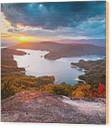 Blue Ridge Mountains Sunset - Lake Jocassee Gold Wood Print
