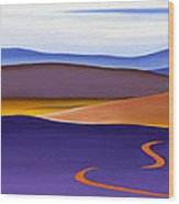 Blue Ridge Orange Mountains Sky And Road In Fall Wood Print by Catherine Twomey