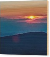 Blue Ridge Parkway Autumn Sunset Over Appalachian Mountains  Wood Print