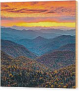 Blue Ridge Parkway Fall Sunset Landscape - Autumn Glory Wood Print by Dave Allen