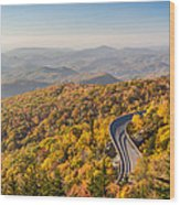 Blue Ridge Parkway In Peak Autumn Colors Wood Print by Pierre Leclerc Photography
