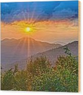 Blue Ridge Parkway Late Summer Appalachian Mountains Sunset West Wood Print
