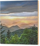 Blue Ridge Parkway Nc - Golden Rainbow Wood Print