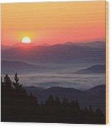 Blue Ridge Parkway Sea Of Clouds Wood Print