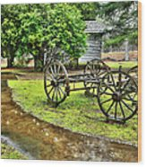 Blue Ridge Parkway Vintage Wagon In The Rain I Wood Print by Dan Carmichael