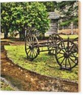 Blue Ridge Parkway Vintage Wagon In The Rain II Wood Print by Dan Carmichael