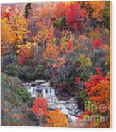 Blue Ridge Parkway Waterfall In Autumn Wood Print