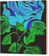 Blue Rose In The Rain Wood Print