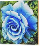 Blue Rose With Brushstrokes Wood Print