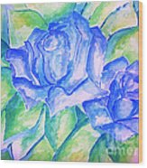 Blue Roses Wood Print by Sidney Holmes