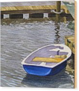 Blue Row Boat Wood Print