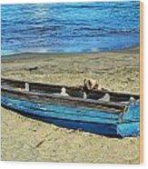 Blue Rowboat Wood Print
