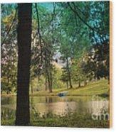 Blue Rowboat On Golden Pond Wood Print