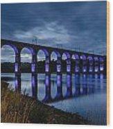 Blue Royal Border Bridge Wood Print