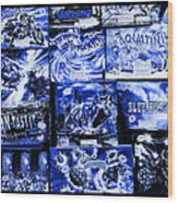 Blue Rush Wood Print